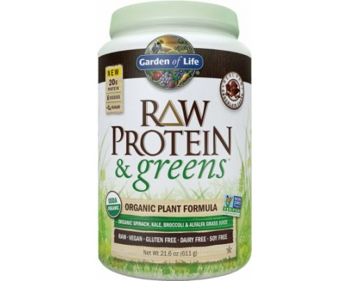 Garden Of Life Raw Protein and Greens Chocolate 20 Servings - Plant Protein