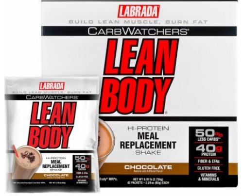 Labrada Carb Watchers Lean Body MRP Chocolate 42 Packets - Meal Replacement